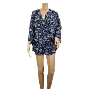 Honey Punch Womens Blue Floral Romper Size Small